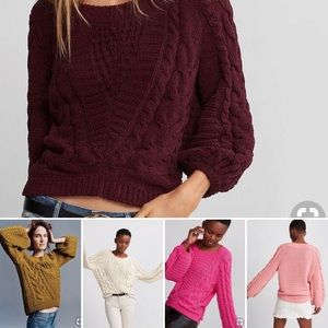 EXP cable knit balloon sleeve sweater (small pull)